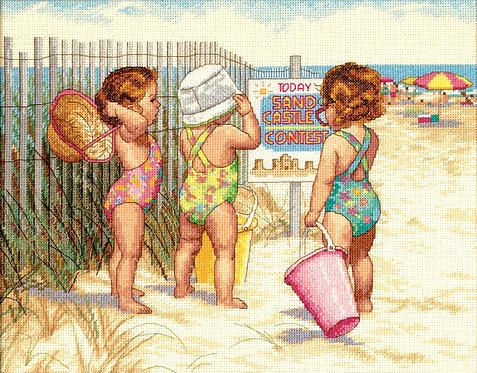 Niñas en la Playa - 35216 Dimensions - Kit de punto de cruz