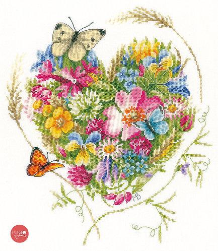 Un corazón de flores - Lanarte - Kit de punto de cruz