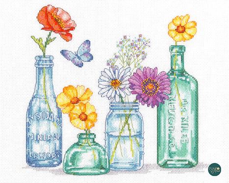 Tarros de flores silvestres - 70-35397 Dimensions - Kit de punt de cruz