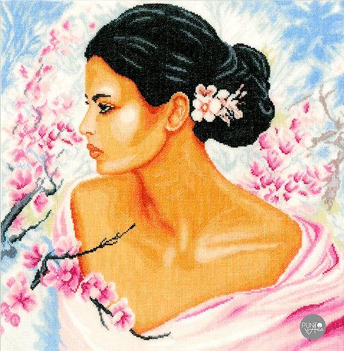 Dama con flores - Lanarte - Kit de punto de cruz