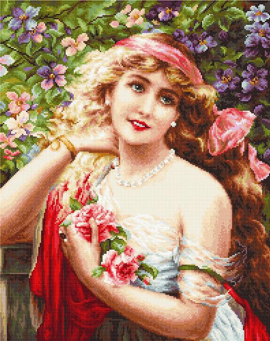 B549 Bella Joven Con Rosas