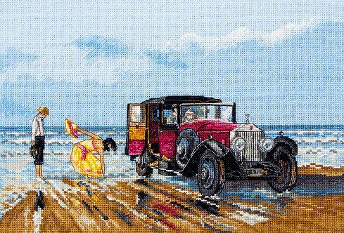 PCE760 Vintage Rolls on the Beach - Anchor - Kit de punto de cruz