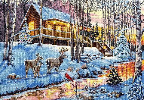 Winter Cabin - 70-08976 Dimensions - Kit de punto de cruz