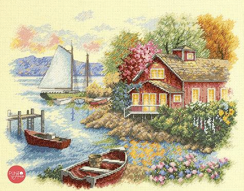 Tranquila casa del lago - 35230 Dimensions - Kit de punto de cruz