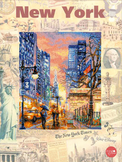 0025 PT Ciudades del mundo. Nueva York - Riolis - Kit de punto de cruz