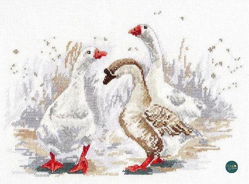 1084 Tres gansos divertidos - OVEN - Kit de punto de cruz
