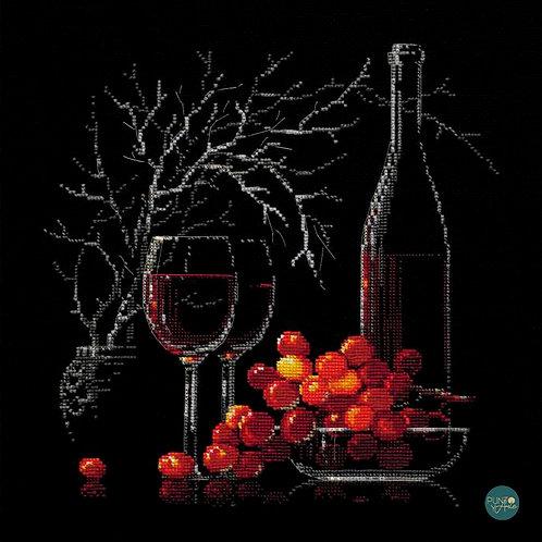1239 Bodegón con vino tinto - Riolis - Kit de punto de cruz