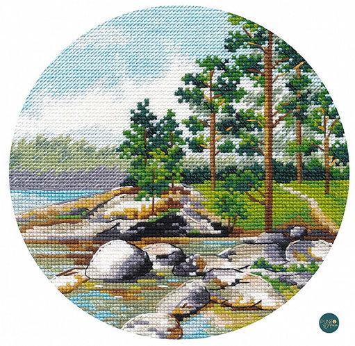 1298 Miniatura. Costa del lago Ladoga - OVEN - Kit de punto de cruz