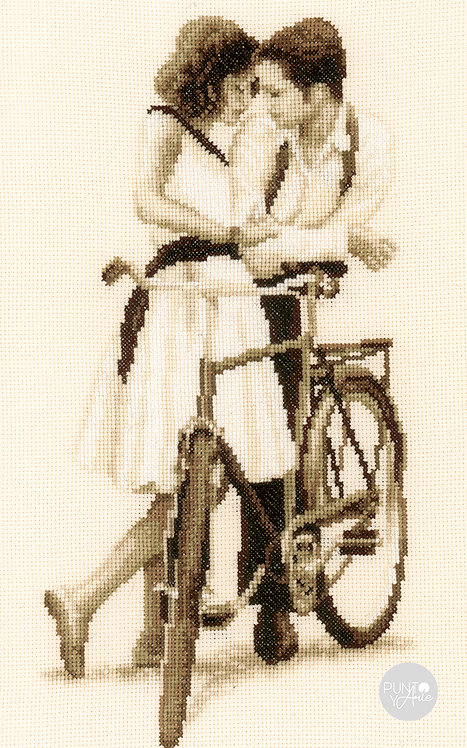 Pareja con bicicleta - Vervaco - Kit de punto de cruz