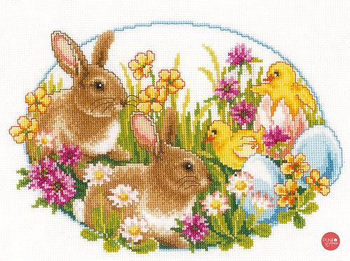 Conejos y pollitos - Vervaco - Kit de punto de cruz