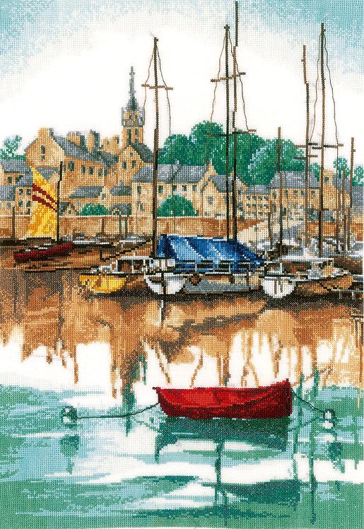 Amanecer en el puerto de yates - Lanarte - Kit de punto de cruz
