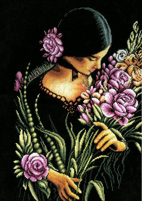 Mujer y flores - Lanarte - Kit de punto de cruz