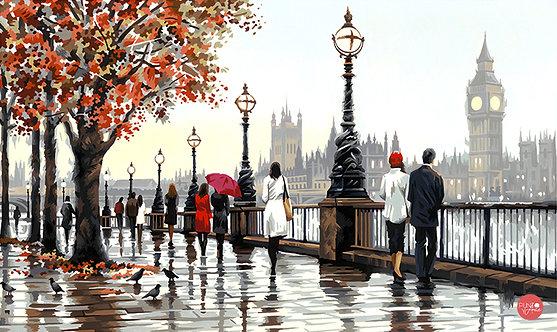 Vista del Támesis - Londres - 73-91732 Dimensions - Kit de Pintura por numero
