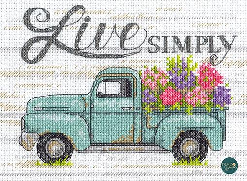 Flower Truck - 70-65211 Dimensions - Kit de punt de cruz