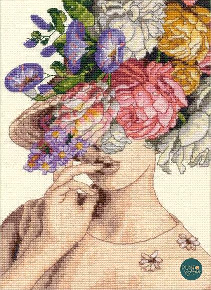 Mujer con sombrero de flores - 70-65209 Dimensions - Kit de punto de cruz
