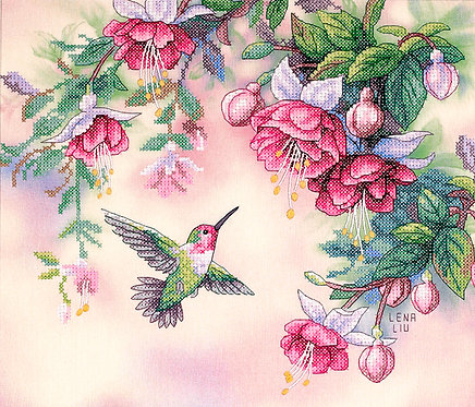 Hummingbird & Fuchsias - 13139 Dimensions - Kit de punt de cruz