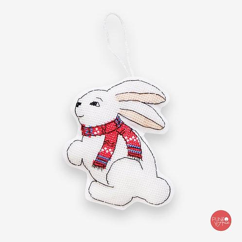 JK010 Conejo feliz Navidad - Luca-S - Kit de Punto de Cruz