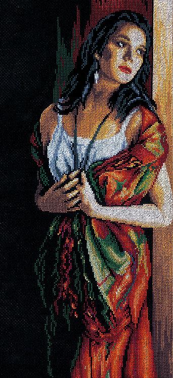 Dama y bufanda - Lanarte - Kit de punto de cruz