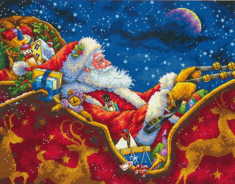 El paseo de medianoche de Santa - 70-08934 Dimensions - Kit de punto de cru