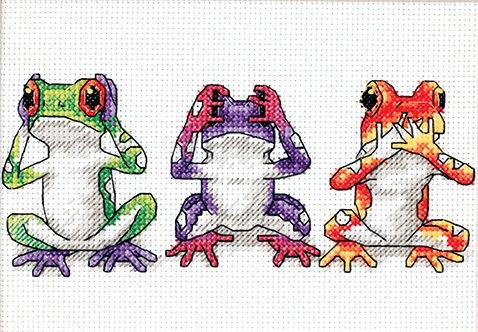 Trío de ranas arbóreas - 16758 Dimensions - Kit de punto de cruz