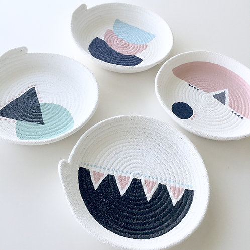 Designs by Winston. Small Rope bowl PINK TRIANGLE series