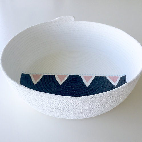 Designs by Winston. Large Rope bowl PINK TRIANGLE series