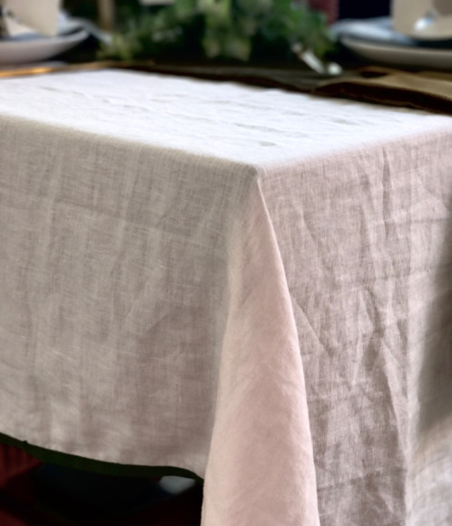 Pale Blush Pink 100% Linen Table Cloth, Edged In A Pine Green Cotton Trim.  This On Trend Colour Combination Makes For A Unique And Modern Table  Setting.