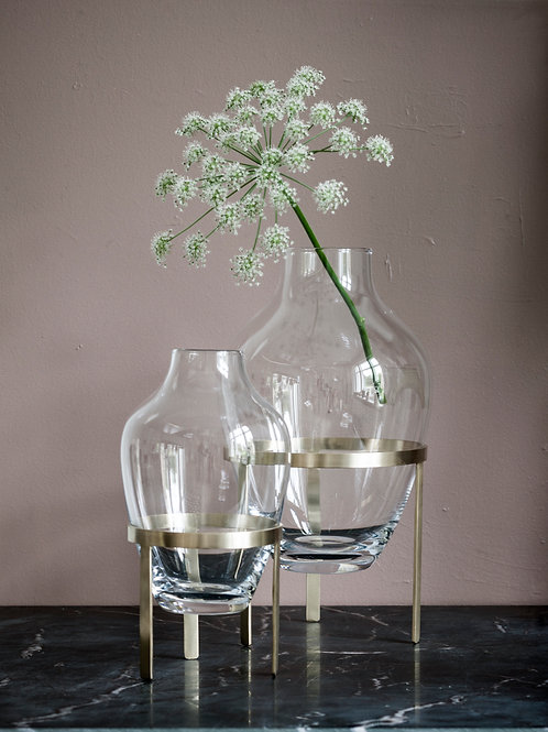 Nordstjerne - Glass vase with Brass stand. Available in 2 sizes