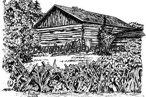 Log Barn with Stump Fence