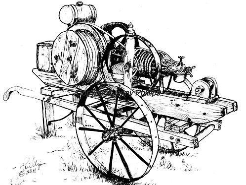 Engine on Steel Wheeled Barrow
