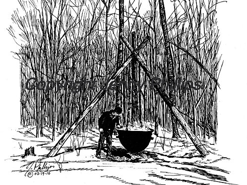 Tripod and Maple Syrup Caldron