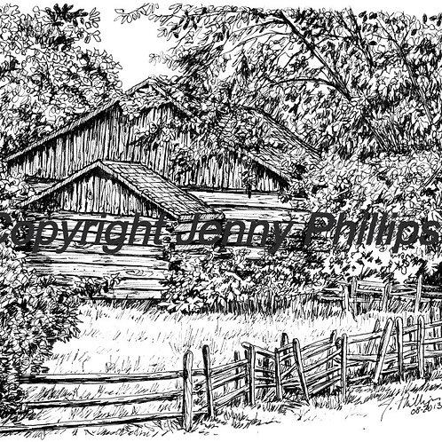 Log Barn with Split Rail Fence