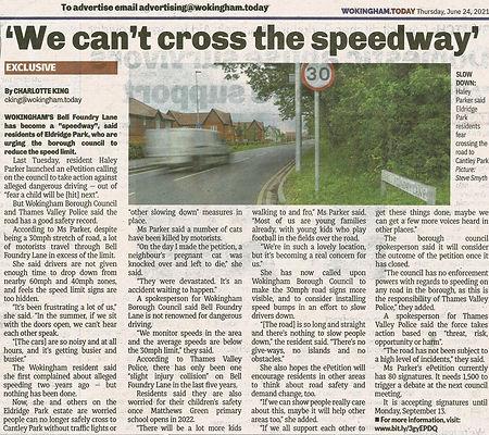 210629 - Wokingham Today - Article re Speeding - 29 Jun 21.jpg