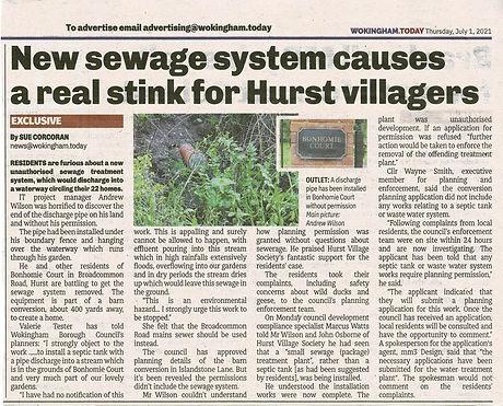 210701 - Wokingham Today - Article re Sewage Pipe Bonhomie Court - 1 Jul 21.jpg