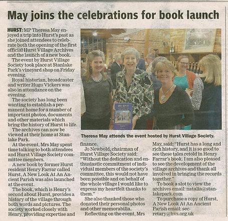 Maidenhead Advertisier - Theresa visit to HVS Hurst Archive & Book Launch at Stanlake - 21