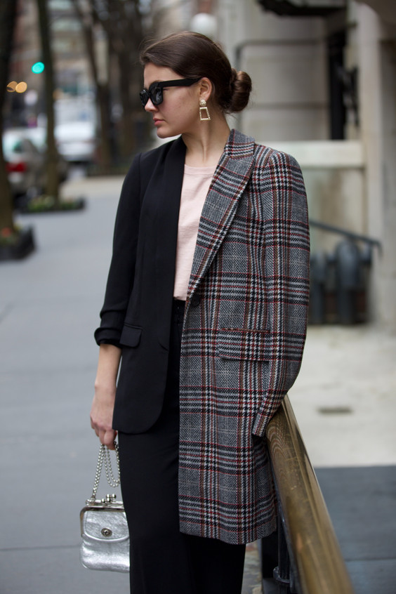 woman-wearing-gray-and-white-plaid-coat-