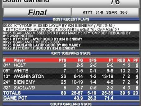 Tompkins Falcons Boy's Basketball State Semi-Final Winners 80-76