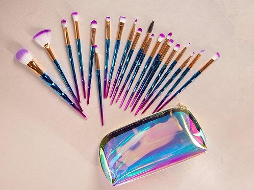 20 Piece Mermaid Synthetic Brush Set