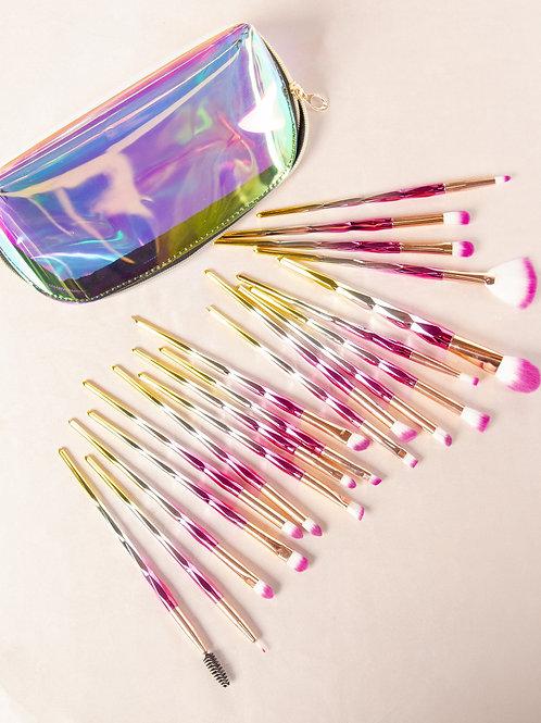 20 Piece Pink Lemonade Holographic Synthetic Brush Set