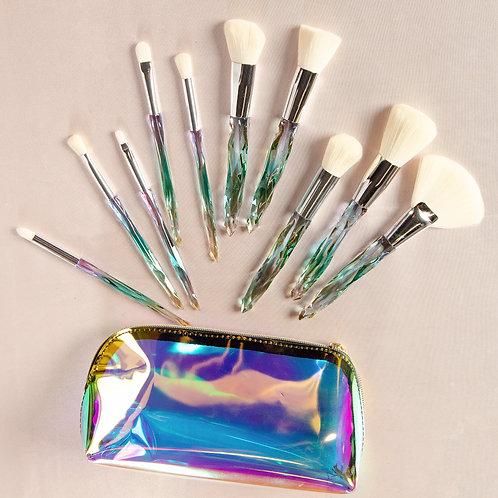 10 Piece Holographic Crystal Handle Brush Set
