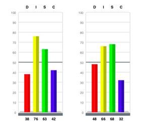 Il s'agit d'un des graphiques résultant du test DISC qui est un test psychométrique comportemental.