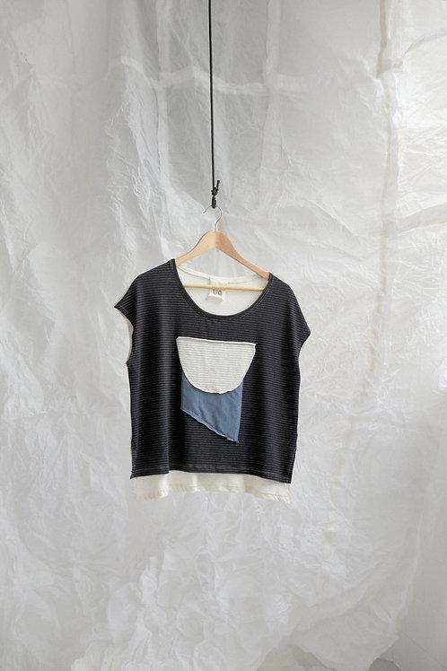 tshirt bicolor colagem preta
