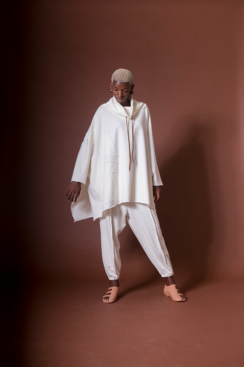 calça saco branca moletom colagem