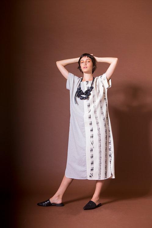 vestido quadrado bicolor listras