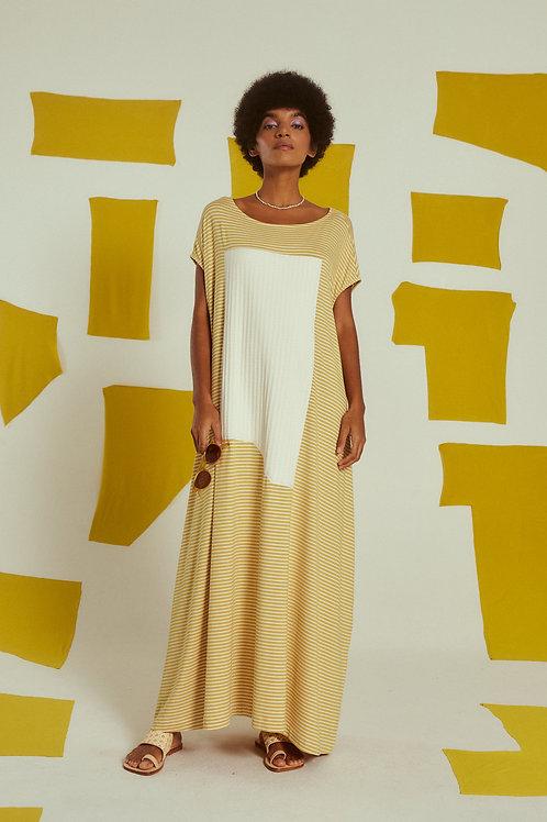vestido amplo colagem cítrico