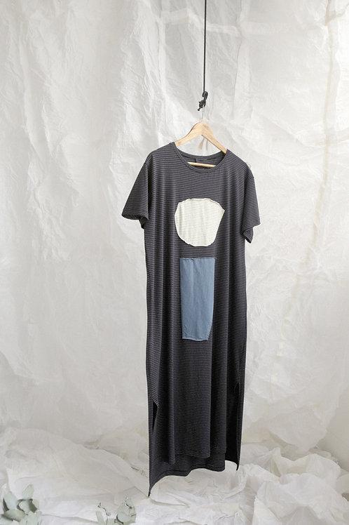 vestido básico fenda colagem preto