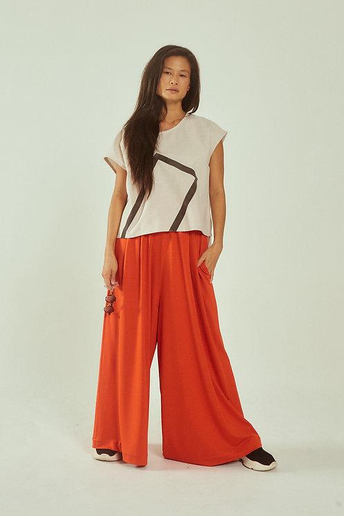 calça pantalona laranja