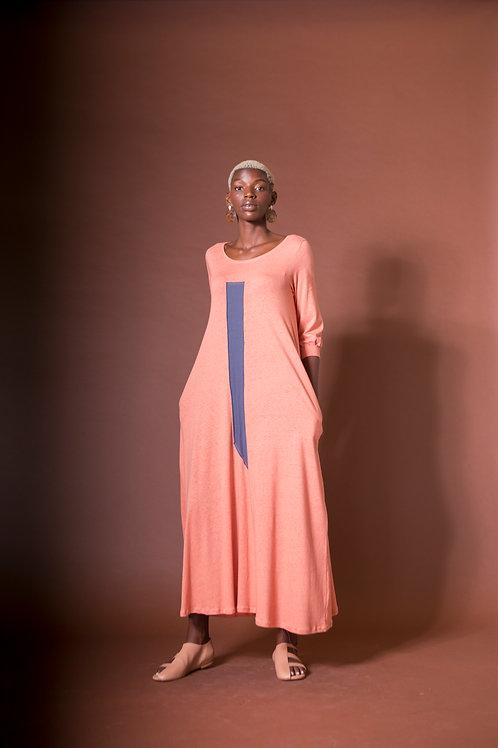 vestido longo elástico colagem cúrcuma + carmim