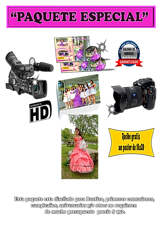 precios y paquete video y fotografia $ 950 MY PARTY NOW CORP