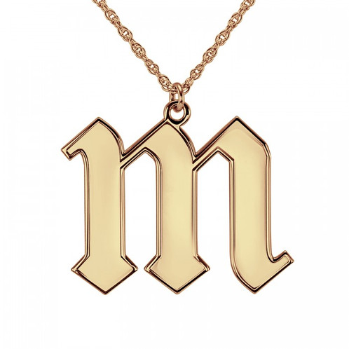 Gothic letter pendant fashion jewellery image gang 24kt gold plated old english letter pendant on 20 chain mozeypictures Choice Image